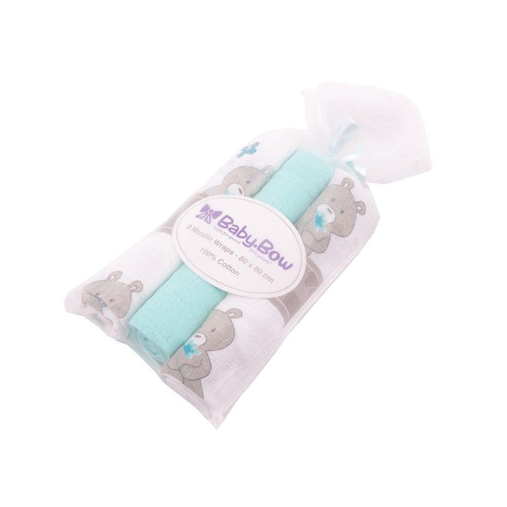 Baby Bow Muslin Wrap 3PK- Aqua Bear 805010
