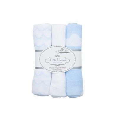 Baby Bow Muslin Wrap 3PK-Clouds Blue 806281