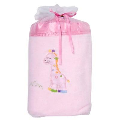 Baby Bow Giraffe Blanket in Voile Bag - Pink  714689