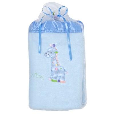 Baby Bow Giraffe Blanket in Voile Bag - Blue  714688