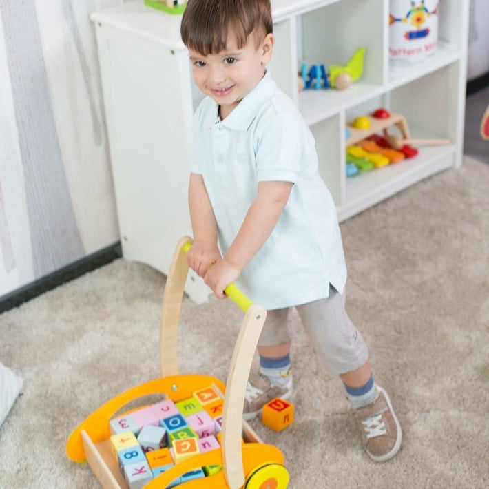 Classic World Wooden Baby Walker with Blocks 802201