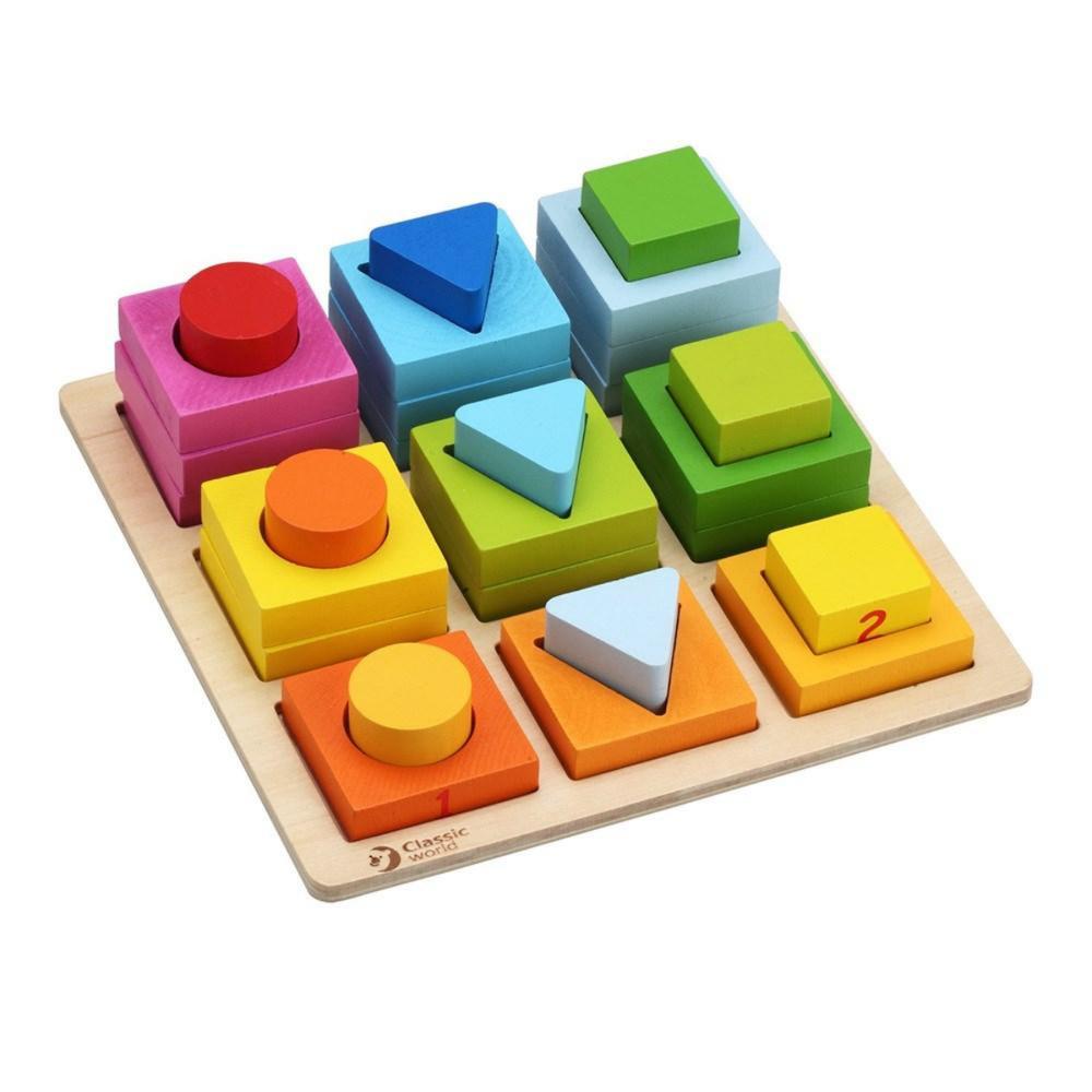 Classic World Wooden Geometric Blocks 807314