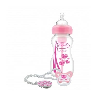 Dr Brown Options 270ml Bottle & Soother Giftset Pink 805880