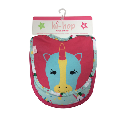 Hi-Hop Unicorn Feeding Bib 2pk 8080950001