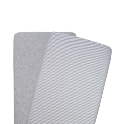 Living Textiles 2 pack Jersey Bassinet Fitted Sheets - Grey Stripe/Melange 805121
