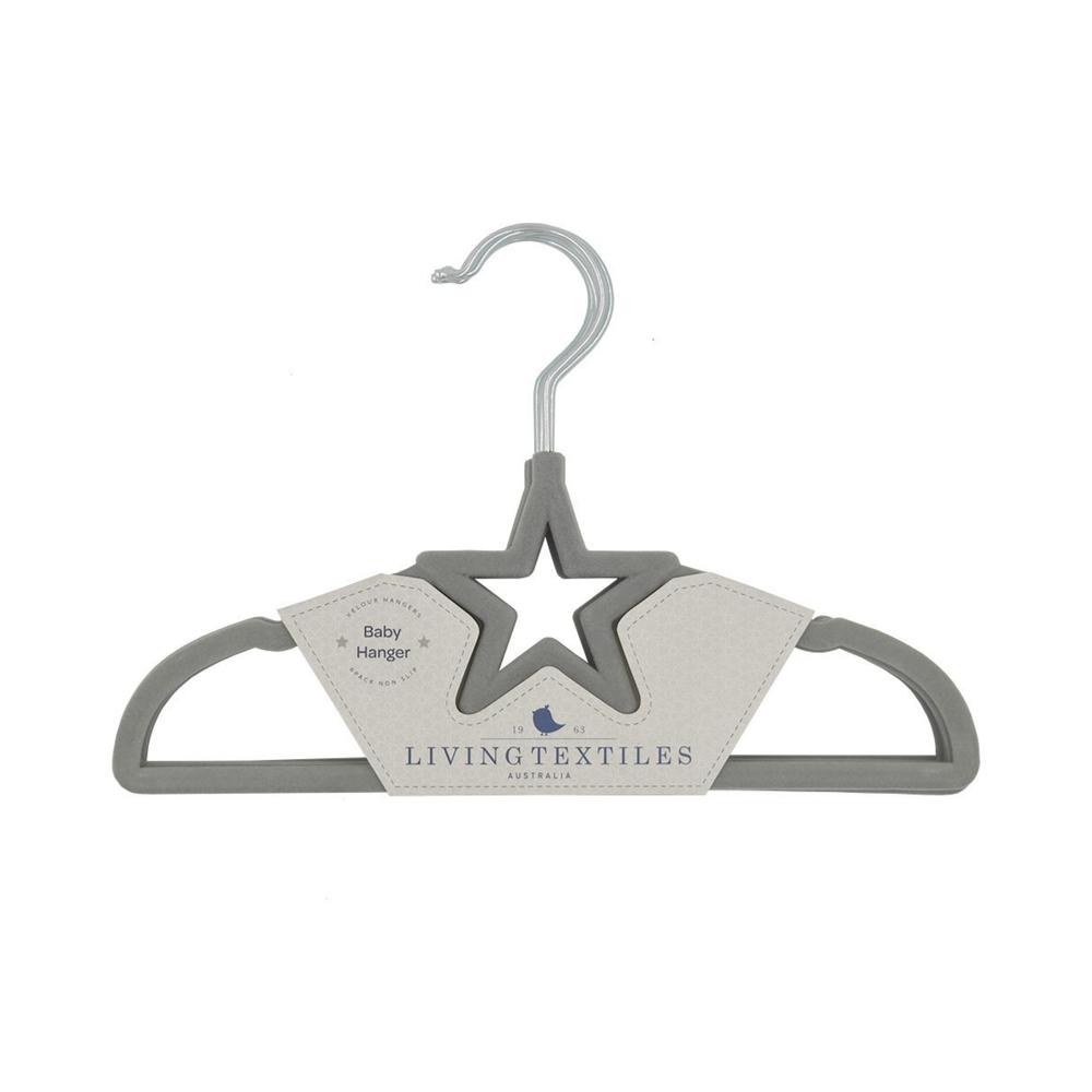 Living Textiles Baby Coat Hangers 6 pack - Grey Star 805389