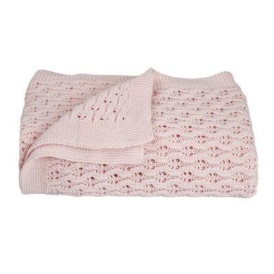 Living Textiles Baby Lattice Blanket  - Blush 806579