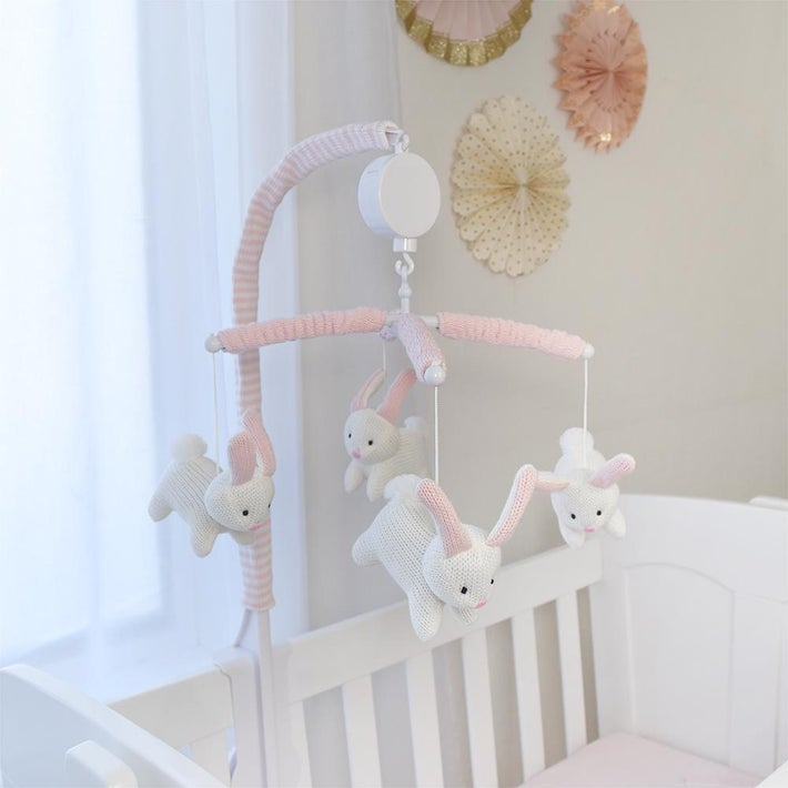 Living Textiles Bunny Musical Mobile - White Bunny 807777