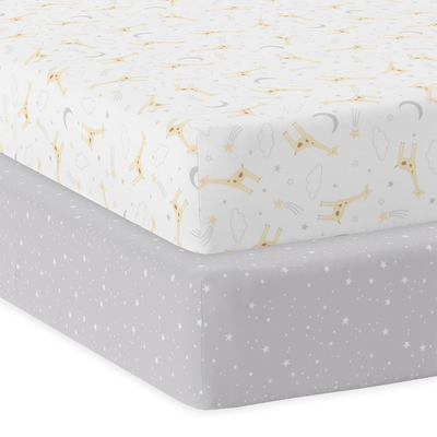 Living Textiles Jersey Cot Fitted Sheet 2 Pack - Noah 808397