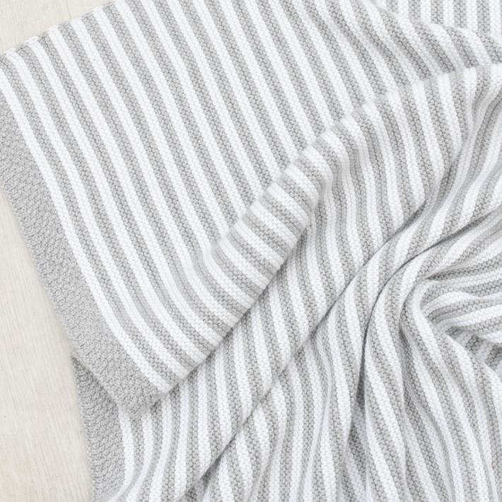 Living Textiles Knitted Bassinet Stripe Blanket - Grey / White 806564