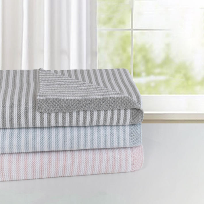 Living Textiles Knitted Stripe Blanket - Pink / White 806563
