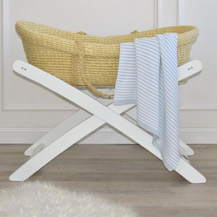 Living Textiles Knitted Bassinet Stripe Blanket - Blue/White 806562