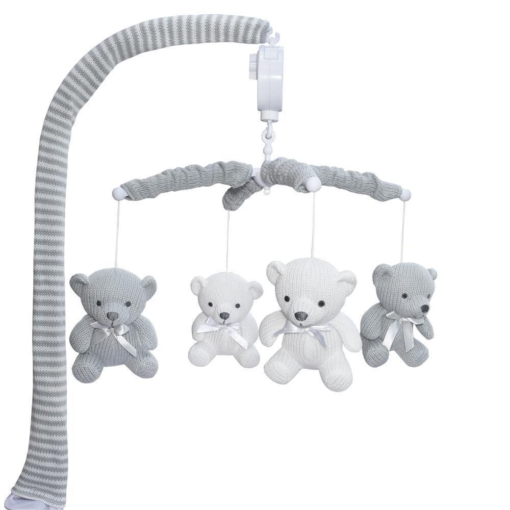 Living Textiles Musical Mobile Bear - White Grey 807776