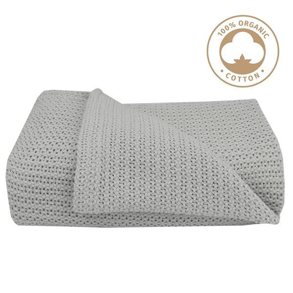 Living Textiles Organic Cot Cellular Blanket - Grey 805860