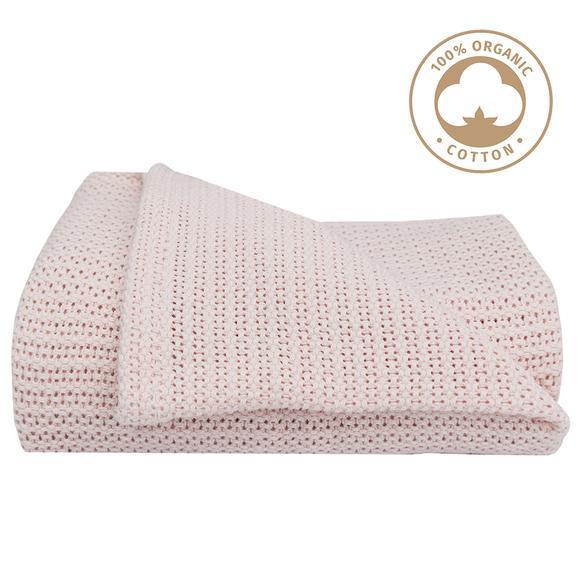 Living Textiles Organic Cot Cellular Blanket - Rose 805859