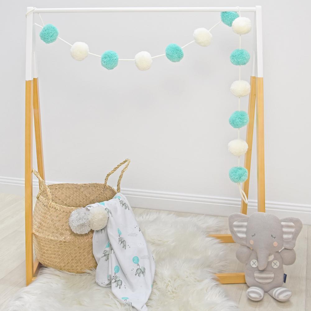 Living Textiles Dream Big Pom Pom Garland - Aqua/White 805947