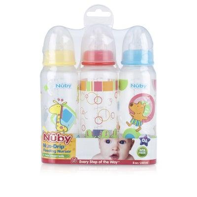 Nuby Printed Bottles 240ml 3PK 802500
