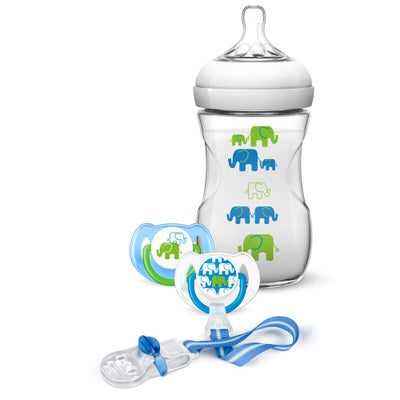 Philips AVENT Natural Deco Design Bottle 260ml Blue/Green Gift Set 804234