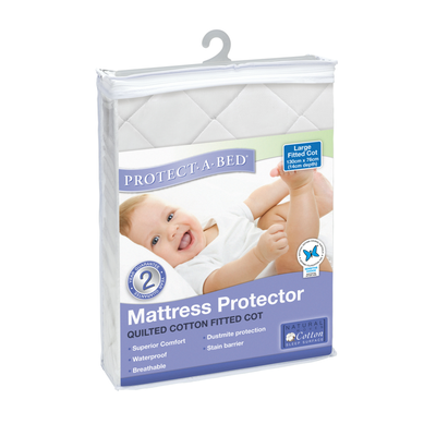 Protect A Bed Cotton Quilted Universal Fitted Cot Sheet - White 800567