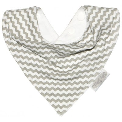 Silly Billyz Jersey Bandana Bib - Grey Chevron  803010