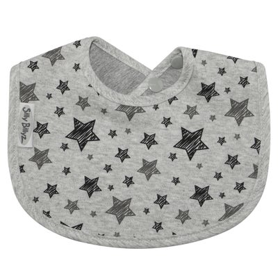 Silly Billyz Jersey Biblet Bib - Grey Star 806513